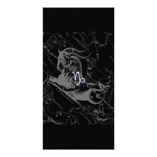 Chrome like Capricorn Zodiac Sign on Hevelius Card