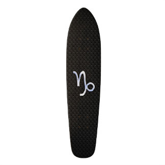 Chrome like Capricorn Zodiac Symbol on Snake Skin Skateboard