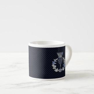 Chrome Like Carbon Fiber Print Scottish Thistle Espresso Cup