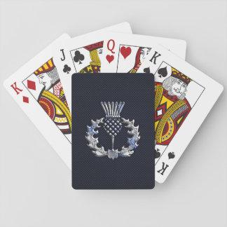 Chrome Like Carbon Fiber Print Scottish Thistle Playing Cards