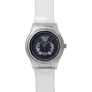 Chrome Like Carbon Fiber Print Scottish Thistle Wrist Watch
