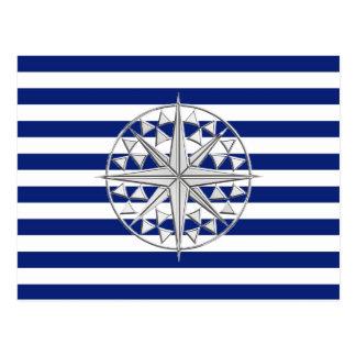 Chrome Like Compass on Nautical Stripes Postcard