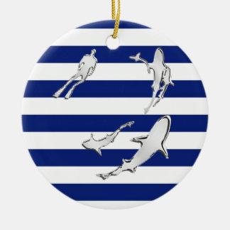 Chrome Like Diver and Sharks on Nautical Stripes Ceramic Ornament