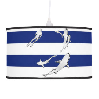 Chrome Like Diver and Sharks on Navy Stripes Hanging Lamp