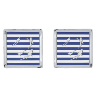 Chrome Like Diver Nautical Navy Blue Stripes Silver Finish Cuff Links