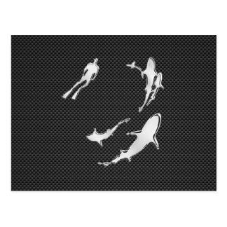 Chrome Like Diver with Sharks on Carbon Fiber Postcard