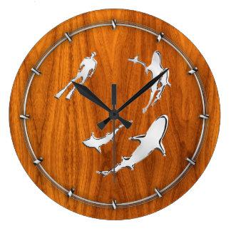 Chrome Like Diver with Sharks on Teak Veneer Wall Clocks