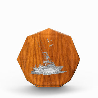 Chrome Like Fishing Boat on Teak Wood Award