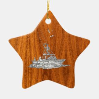 Chrome Like Fishing Boat on Teak Wood Ceramic Ornament