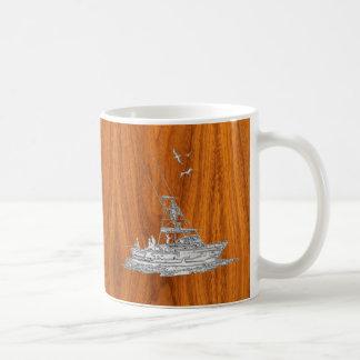 Chrome Like Fishing Boat on Teak Wood Decor Coffee Mug