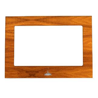 Chrome Like Fishing Boat on Teak Wood Decor Magnetic Picture Frame