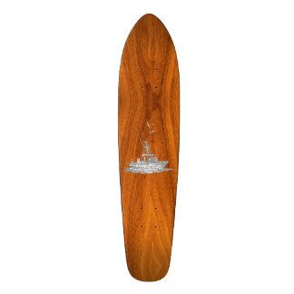 Chrome Like Fishing Boat on Teak Wood Decor Skateboard Deck