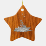 Chrome Like Fishing Boat on Teak Wood Double-Sided Star Ceramic Christmas Ornament