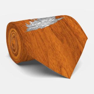 Chrome like Fishing Boat on Teak Woodv style Neck Tie