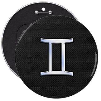 Chrome Like Gemini Zodiac Sign 6 Inch Round Button