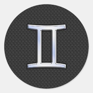 Chrome Like Gemini Zodiac Symbol Classic Round Sticker