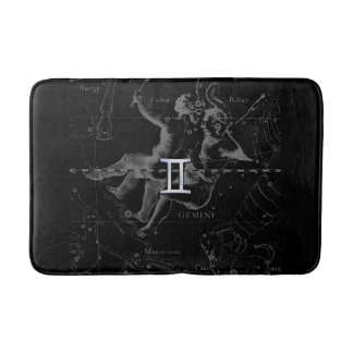 Chrome like Gemini Zodiac Symbol on Hevelius Bath Mats