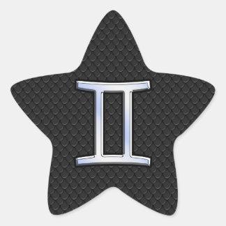 Chrome Like Gemini Zodiac Symbol Star Sticker