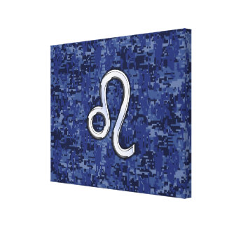 Chrome Like Leo Sign on Navy Blue Digital Camo Canvas Print