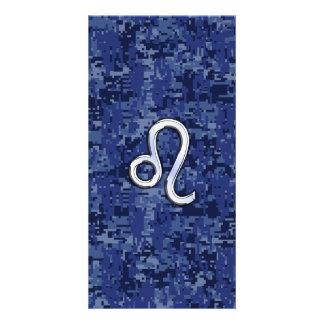 Chrome Like Leo Sign on Navy Blue Digital Camo Card