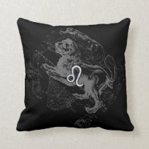 Chrome Like Leo Zodiac Constellation Map Hevelius Throw Pillow