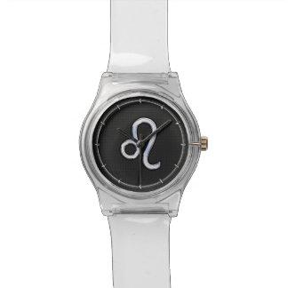 Chrome Like Leo Zodiac Sign on Snake Skin Decor Wristwatch