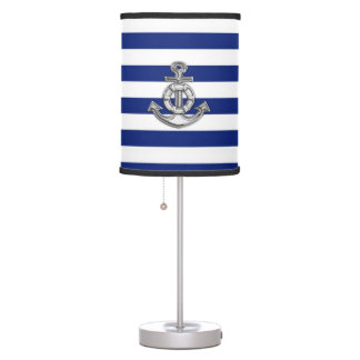 Chrome Like Lifesaver Anchor on Navy Stripes Table Lamp