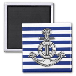 Chrome Like Lifesaver on Nautical Stripes 2 Inch Square Magnet