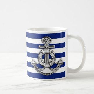 Chrome Like Lifesaver on Navy Stripes Coffee Mug