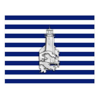 Chrome Like Lighthouse on Nautical Stripes Postcard