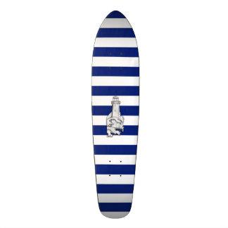 Chrome Like Lighthouse on Nautical Stripes Skateboard Deck