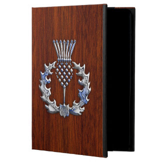 Chrome Like Mahogany Wood Grain Scottish Thistle iPad Air Cases