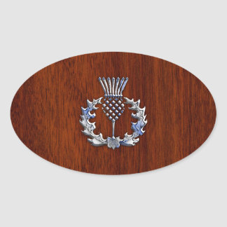 Chrome Like Mahogany Wood Grain Scottish Thistle Oval Sticker