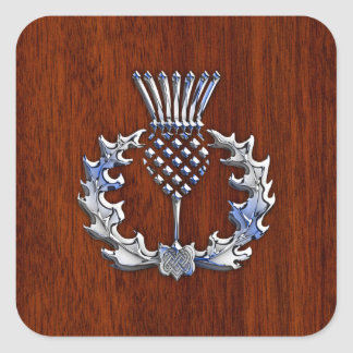 Chrome Like Mahogany Wood Grain Scottish Thistle Square Sticker