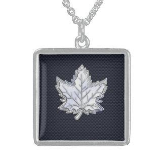 Chrome Like Maple Leaf on Carbon Fiber black Square Pendant Necklace