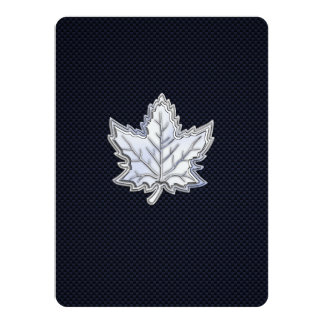 Chrome Like Maple Leaf on Carbon Fiber Print Card