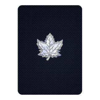Chrome Like Maple Leaf on Carbon Fiber Print Card