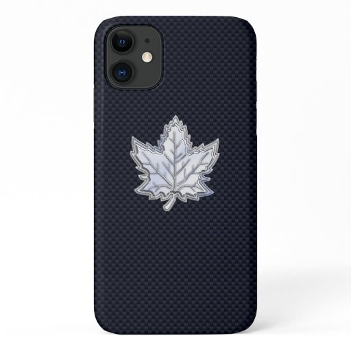 Chrome Like Maple Leaf on Carbon Fiber Print iPhone 11 Case