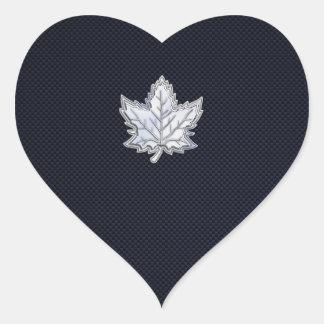 Chrome Like Maple Leaf on Carbon Fiber Print Heart Sticker