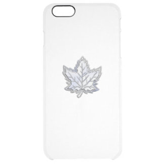 Chrome Like Maple Leaf on Carbon Fiber Print Uncommon Clearly™ Deflector iPhone 6 Plus Case