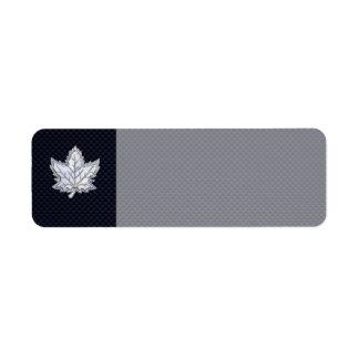 Chrome Like Maple Leaf on Carbon Fiber Print Label