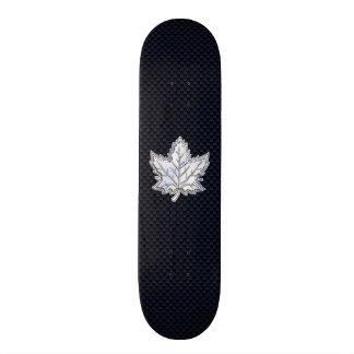Chrome Like Maple Leaf on Carbon Fiber Print Skateboard