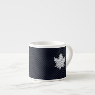 Chrome Like Maple Leaf on Carbon Fiber style Espresso Cup
