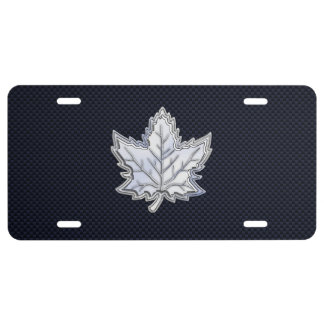 Chrome Like Maple Leaf on Carbon Fiber style License Plate