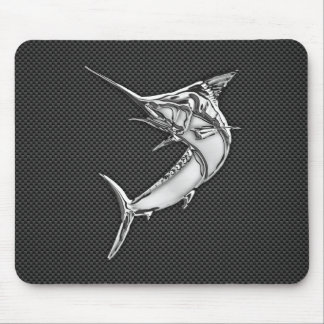 Chrome Like Marlin on Carbon Fiber Mouse Pad