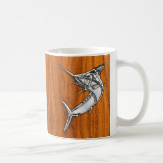 Chrome Like Marlin on Teak Wood Grain Decor Coffee Mug