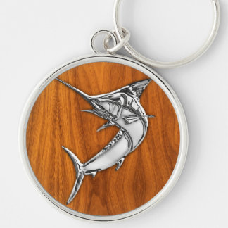 Chrome Like Marlin on Teak Wood Grain Decor Silver-Colored Round Keychain