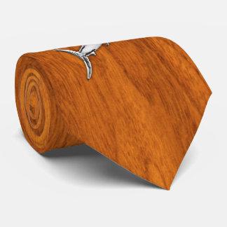 Chrome like Marlin on Teak Wood print Tie