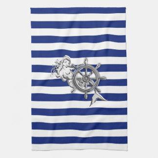 Chrome Like Mermaid on Nautical Stripes Kitchen Towels