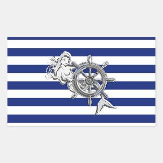Chrome Like Mermaid on Nautical Stripes Rectangular Sticker